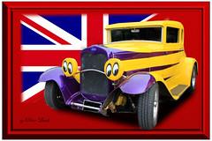 British Hotrod (British Classic Car Art) Tags: british hotrod yellow purple cheeky eyes