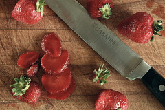 Strawberries (graemes83) Tags: food strawberry knife wood blade steel chopped fruit red flash berries topdown sabatier