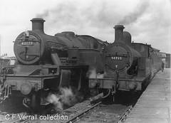 40179 and 50725 at Normanton (pondhopper1) Tags: huddersfield lyr lancashireandyorkshirerailway lms londonmidlandandscottishrailway 262t 242t 40179 50725 railways steam monochrome