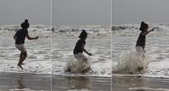 Hop, skip and jump (Debmalya Mukherjee) Tags: debmalyamukherjee canon550d 18135 goa colva kid jump sea candid