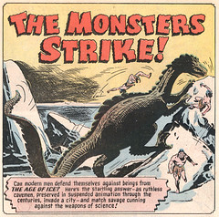 The Monsters Strike! (gameraboy) Tags: charliesultan samcitron adventuresintotheunknown 33 1952 1950s dinosaur vintage comics comicbook comicbookart art illustration monster