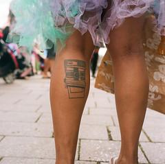 Portland Mermaid Parade (c_young_pdx) Tags: portlandmermaidparade yashica tlr stranger polaroid tattoo portra