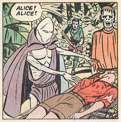 Alice! Alice! - The Lair of Lost Souls, Adventures into the Unknown #33 (1952), art by Al Camy (gameraboy) Tags: adventuresintotheunknown 33 1952 art alcamy thelairoflostsouls comics zombie 1950s comicbook comicbookart illustration vintage