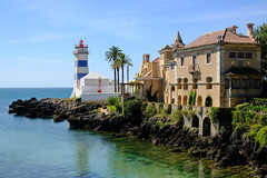 Santa Marta Lighthouse Museum (The Green Album) Tags: cascais portugal sea adriatic turquoise clear historic stripes blue red beauty seascape