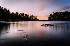 August sunset (mabuli90) Tags: finland lake water forest tree wood sky clouds longexposure nature landscape