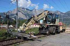 Track Construction - CAT/M323F (Kecko) Tags: 2019 kecko switzerland swiss schweiz suisse svizzera ostschweiz sg badragaz rheintal bahn railway railroad sbb müllergleisbauag gleisbau cat bagger zweiwegebagger m323f twoway excavator digger vehicle fahrzeug swissphoto geotagged geo:lat=47010190 geo:lon=9507020