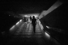 Walking up the Milwaukee Art Museum Stairs (Sean Anderson Media) Tags: blackandwhite grainy monochrome highcontrast 11mm pinhole pinholelens pinholephotography sonya7sii streetphotography milwaukeeartmuseum stairs walking museum silhouette wanderlustcameras pinwide lofi lofiphotography