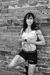 body builder posing outdoors (ABWphoto!) Tags: virinia one female posing portrait naturallight blackandwhite muscles athletic bodybuilder woman healthy