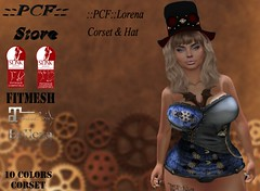 ::PCF:: Lorena Corset & Hat (pcfstoresecondlife) Tags: women event release top outfit promo accessories second secondlife sl store slink fitmesh female girl hud hat life virtual virtuallife virtualstore belleza new newrelease maitreya