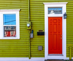 Red Door & More (Karen_Chappell) Tags: red green door blue window house home rowhouse jellybeanrow white trim paint painted wood wooden clapboard downtown city reflection urban stjohns canada eastcoast avalonpeninsula atlanticcanada architecture colours color colour colors colourful canonef24105mmf4lisusm multicoloured rgb