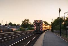 Chicago-Bound (romanboed) Tags: leica m 240 summilux 50 asph summer usa illinois chicagoland wheaton suburb train tracks commuter platform dusk sunset
