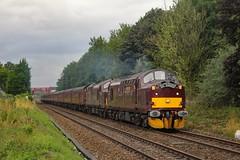 37706+37669 pass Bamber Bridge with the Scarborough Spa, 1Z25 0650 Crewe - Scarborough on 15/08/19. (chrisrowe37419) Tags: 37706 37669 bamberbridge 150819