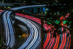 over and under fences (pbo31) Tags: sanfrancisco california bayarea nikon d810 color august 2019 boury pbo31 city lightstream motion traffic dark night black over roadway bernalheights red 101 interchange 280