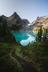 Alpine Dream (StevenScarcello) Tags: pnw landscape colors green path trail hike mountains lake clear glacier snow peak trees forest alpine