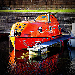 On Vacation (Rollingstone1) Tags: escapepod vessel craft water canal orange boat bowling scotland adventure holiday weekend outdoor colour vivid art artwork