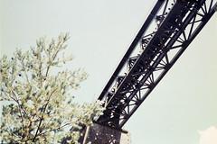Camino a Canfranc (Fer Svengali) Tags: puente canfranero villanua metal bridge tree sky expired film