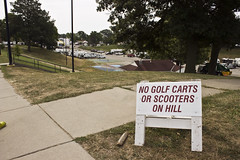 No Golf Carts or Scooters on Hill (dramamath) Tags: 119picturesin2019 somethingthatyoutakeforgranted illinoisstatefair reallypeople