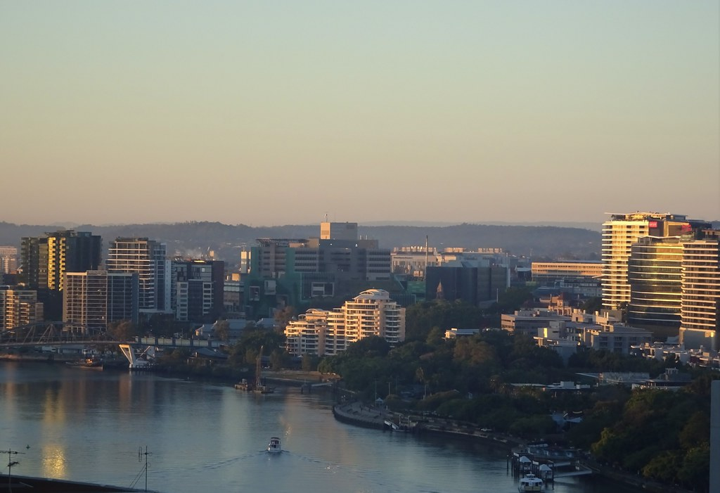 Brisbane.  View of the Brisbane River  towards the south in the early morning.