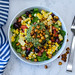 Mexican Salad with Chickpea, Corn and Tomato in a White Bowl