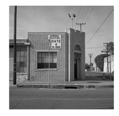 """""""This building may be unsafe in the event of a major earthquake."""" (ADMurr) Tags: la eastside vernon irving brick square unreinforced masonry rolleiflex 28f cz zeiss planar 80mm ilford 125 dba207"""