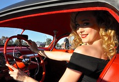 The blonde (sccart) Tags: stunning blonde miss curly sue black lead sled hot rod red interior