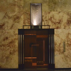 Going Up In The World (MPnormaleye) Tags: deco elevator woodwork design assymetrical modern 1930s lobby streamline utata 24mm