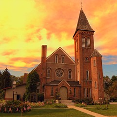 Middlebury New York - Village of Warsaw - The  First Baptist Church of Middlebury  - Historic - Wyoming  New York-  Gaslight Village - (Onasill ~ Bill Badzo) Tags: middlebury new york village the first baptist church historic warsaw gaslight wyomingcounty red brick building sunset sunrise rural nrhp tower bell chambers architecture gothic style rt 19 hamlet farms dairy maple syrup golden historicchurch