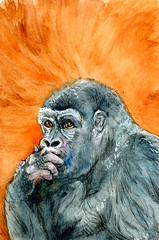 Gorilla in Thinker Pose (Life Imitates Doodles) Tags: gorilla animal watercolor postcardsforthelunchbag