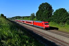 101 127 Vierkirchen (2750n) (christophschneider1) Tags: kbs900 vierkirchen ramelsbach dachauerhinterland oberbayern deutschebahn dbregio münchennürnbergexpress münüex 101 101127 adtranz wendezug verkehrsrot re4033 d850