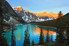 Moraine Lake (ashockenberry) Tags: ashleyhockenberryphotography wilderness wild west rocky mountains beautiful beauty landscape reflection trees forest travel tourism alberta canada rockies majestic light lake moraine banff national park peaks snow habitat green