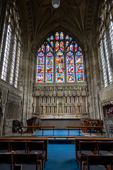 Decorative (Jocey K) Tags: triptoukanderoupe2019 june england uk architecture buildings christchurchpriory dorset church stainedglasswindows pews seats altar candles cross interior