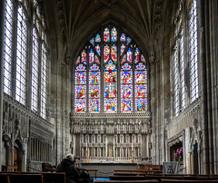 Elaborate (Jocey K) Tags: triptoukanderoupe2019 june england uk architecture buildings christchurchpriory dorset church stainedglasswindows pews seats altar candles cross people interior