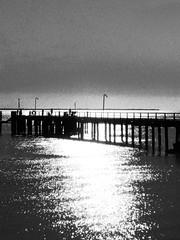 Farewell (ISO 69) Tags: sea blackandwhite white black island grey pier sad jetty australia insel farewell queensland fraser fraserisland sandinsel