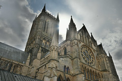 Lincoln Cathedral From the Cloister (Bri_J) Tags: lincolncathedral cathedral lincoln lincolnshire uk church hdr nikon d7500 building stone sun sky clouds tower christianity