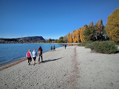 a beautiful day at Lake Wanaka (SM Tham) Tags: newzealand southisland wanaka lakewanaka lake water shore beach people mountiron trees autumn fall landscape sky leadinglines