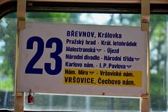 Prague 2019 – Route of line 23 (Michiel2005) Tags: 8085 tram streetcar trolley dpp tatra t3 route 23 prague praha praag prag czechia tsjechië tsjechischerepubliek czechrepublic českárepublika česko