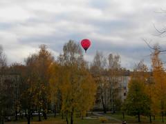 Balloon (olaf_alien) Tags: latvia riga jugla rīga latvija balloon autumn yellow red urban landscape house tree clouds nature