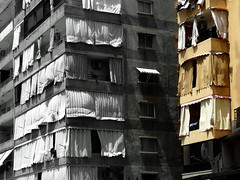Living in the shadow (Le.Patou) Tags: liban lebanon لبنان saïda fz18 city building window wall splash bw yellow shadow balcony façade architecture challengesurflickr curtain sidon cof075patr cof075dmnq cof075red cof075mark cof075chon