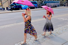 Stockholm, Sweden, 2019 (Lasse Persson) Tags: people twosome young unposed umbrellas outdoor street streetphotography sweden stockholm gatufoto gatufotografi girls