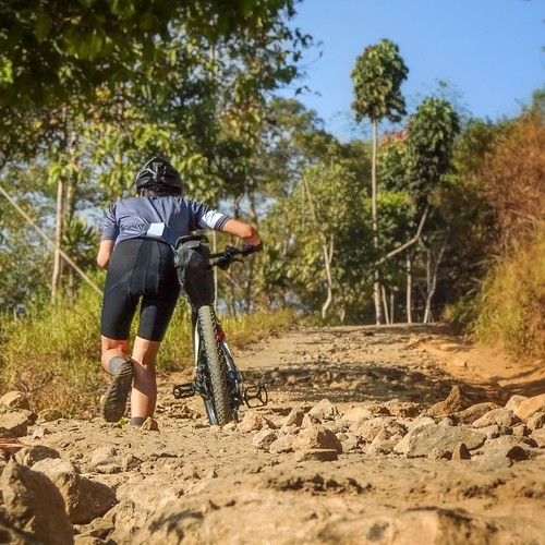 Pushing Bike Along Leuweung Datar's Steepest Climb