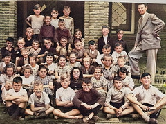 Class photo (theirhistory) Tags: child children kid boy girl school coat jacket shoes wellies rubberboots