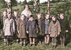 Out in the open (theirhistory) Tags: child children kid boy girl school coat teacher shoes wellies rubberboots