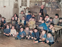 Class photo (theirhistory) Tags: child children kid boy girl school jumper jacket trousers wellies rubberboots