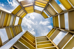 Jacob's Ladder (bjoernahrensfotografie) Tags: munich münchen architecture art sculpture kunst lookup minimal abstract symmetry spiral spirale