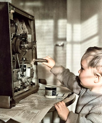 Fun with a TV (theirhistory) Tags: child children kid boy television play