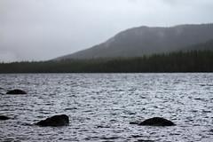 Lake in Fog (timon.blub) Tags: quebec canada travel gaspesie lake landscape seascape fog mountain water riverbank