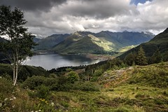 The Sisters (vincocamm) Tags: scotland glenelg kintail duich loch lochduich fivesisters munroes landscape august sky clouds cloudy green grey nikon d5500 vista rattagan summer meadow trees forest rugged sun sunburst
