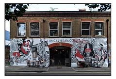 STREET ART by LUKE GRAY. (StockCarPete) Tags: streetart londonstreetart urbanart graffiti londongraffiti hackneywick london uk cafe ethicalbeancompany mural