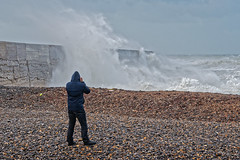 Weather Watcher. (Croydon Clicker) Tags: storm gale wind waves sea ocean water weather beach photographers cameras newhaven eastsussex sussex nikon sigma