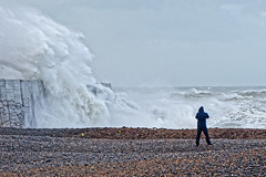 Weather Watcher (Croydon Clicker) Tags: storm gale wind waves sea ocean water weather beach photographers cameras newhaven eastsussex sussex nikon sigma